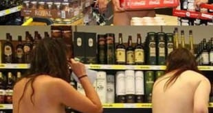 Compra gratis en un supermercado para los que entraron desnudos