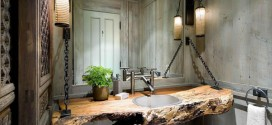 Un particular cuarto de baño de estilo rústico