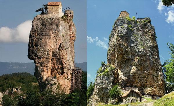 Ermita en la cima de un tapón volcánico