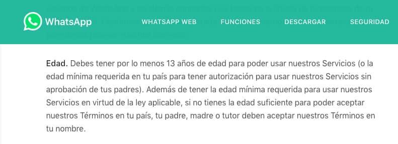 WhatsApp: Edad mínima