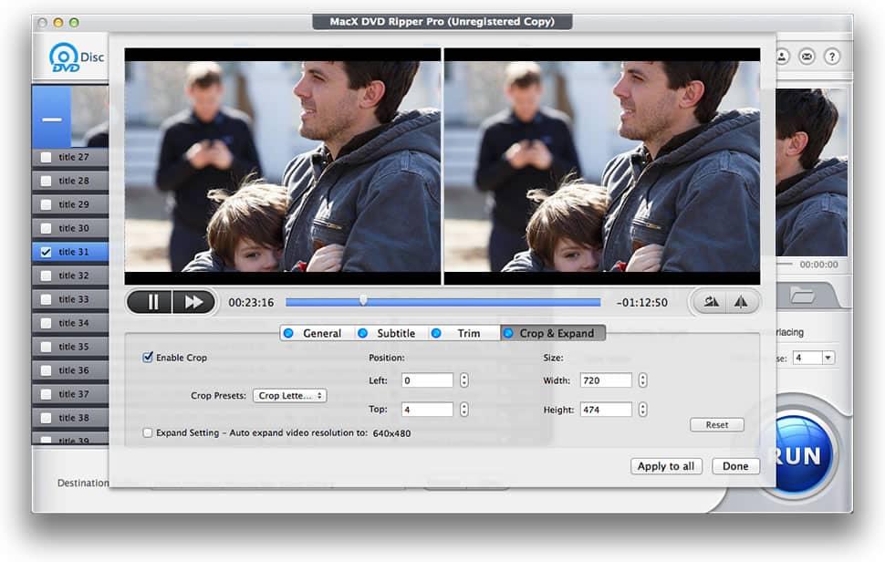 MacX DVD Ripper Pro - Recorte y fusión