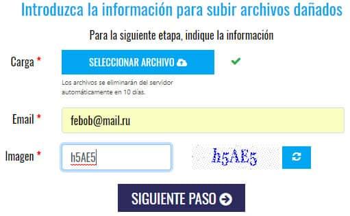 Información archivos dañados