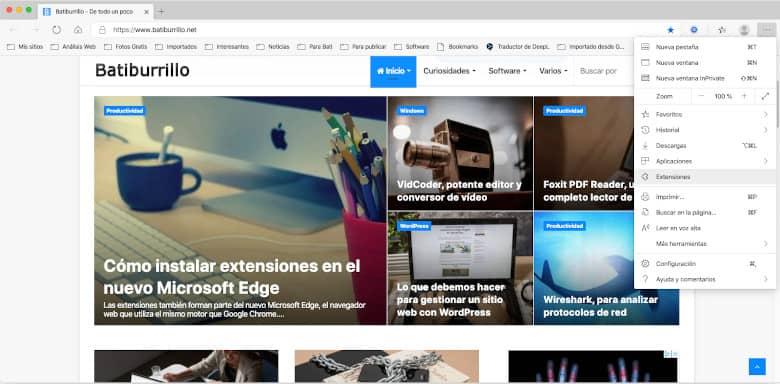 Extensiones en Microsoft Edge