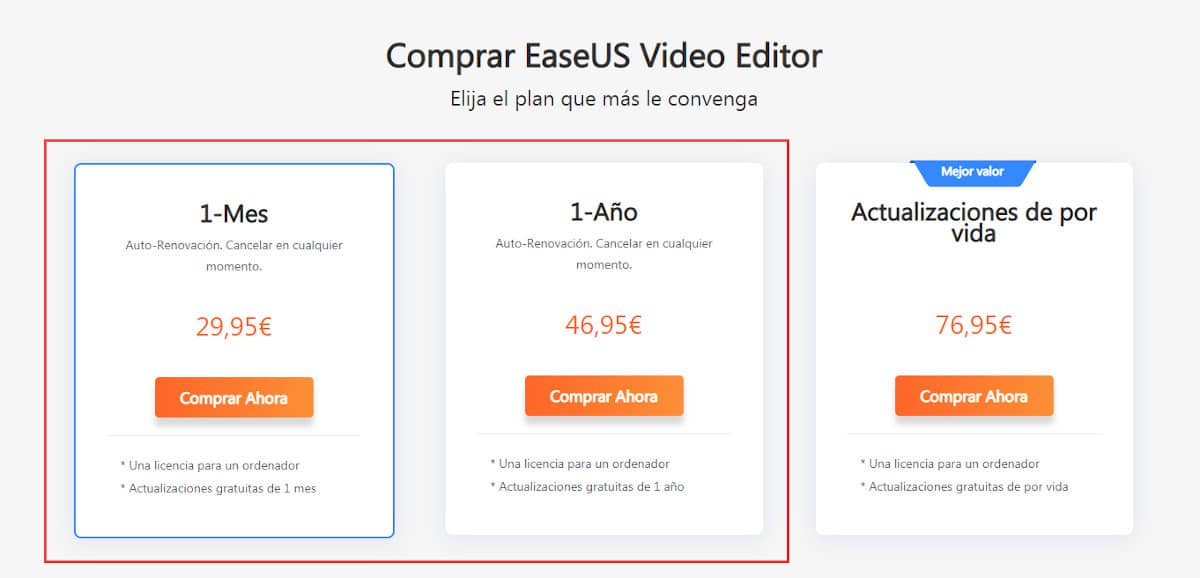 Comprar EaseUS Video Editor