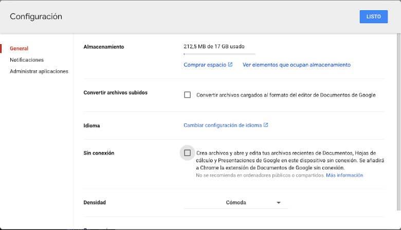 Configuración Google Drive