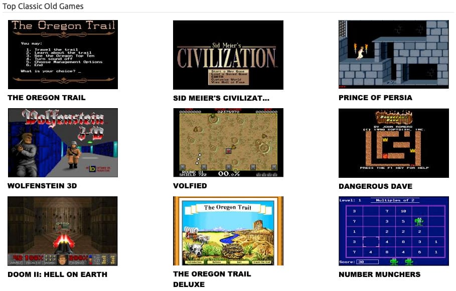 Top Classic Old Games