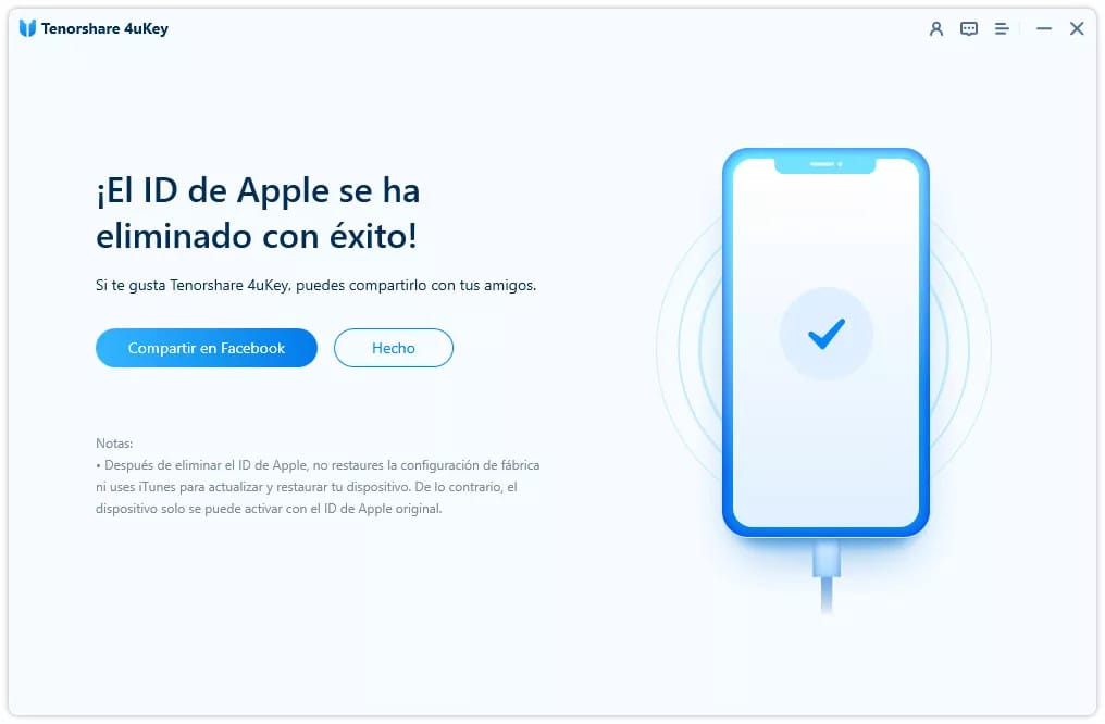 El ID de Apple se ha eliminado con éxito